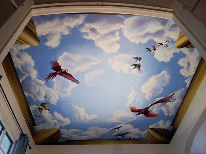 Шикарная фотопечать на натяжном потолке