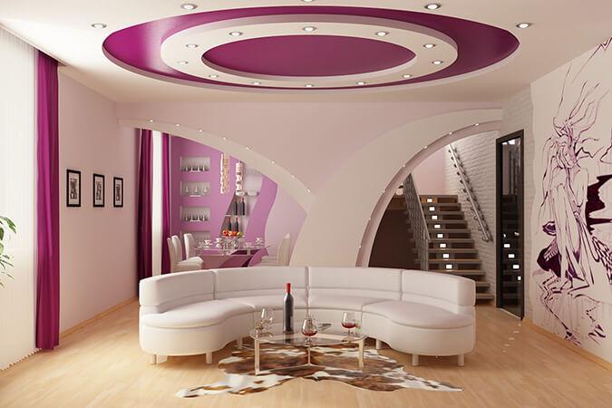 Натяжные потолки в гостиной многоуровневые