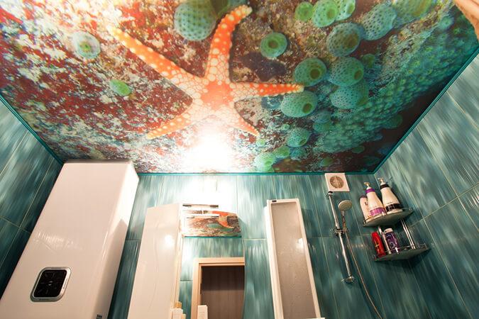 Фотопечать морская звезда в ванной