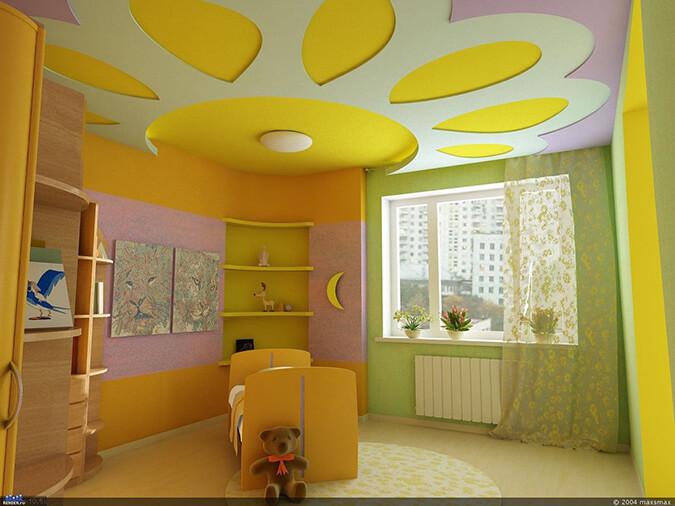 Жёлтый потолок в виде солнца в детской