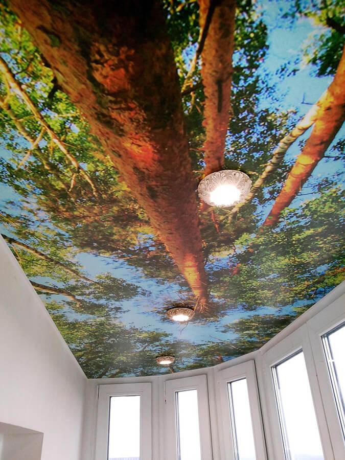 Фотопечать на натяжном потолке на балконе