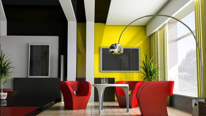 Чёрный натяжной потолок в стиле авангард