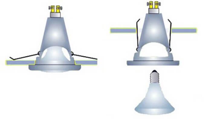 Снятие лампы и её конструкция схема