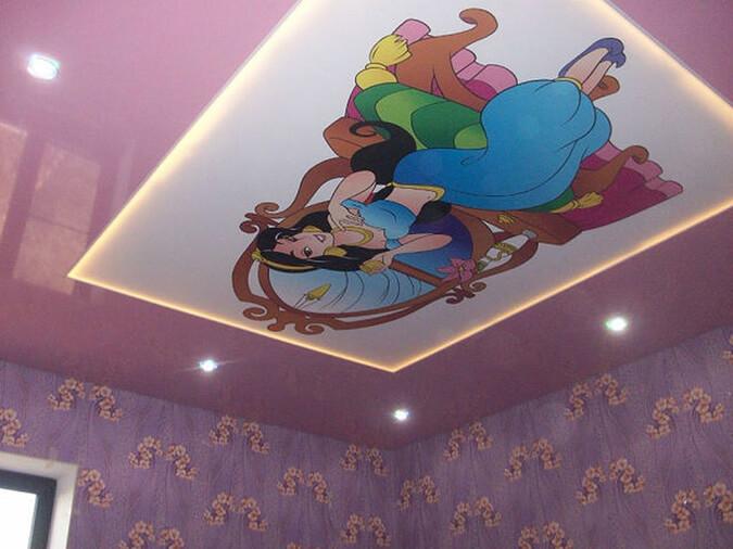Натяжной потолок с фотопечатью аладин для детской