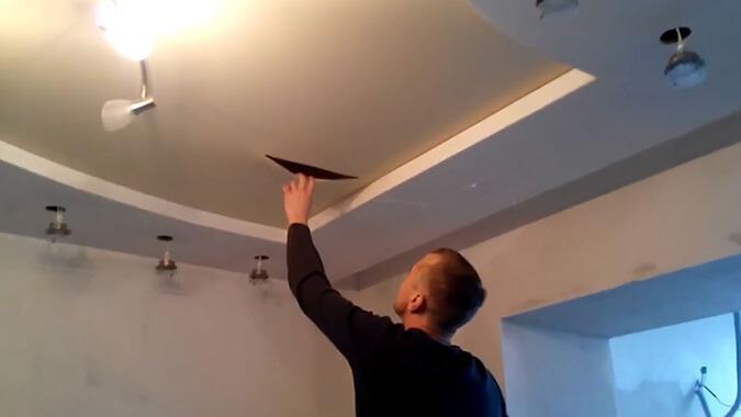 Порез тканевого двухуровневого потолка