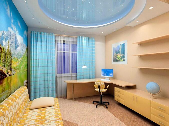 Дизайн натяжного потолка в детской комнате