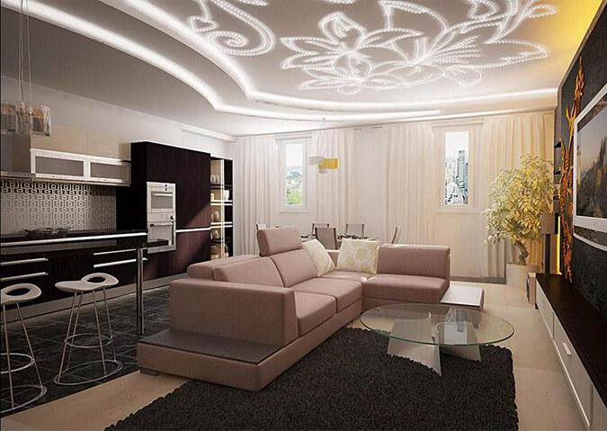 Натяжной потолок со светодиодным рисунком