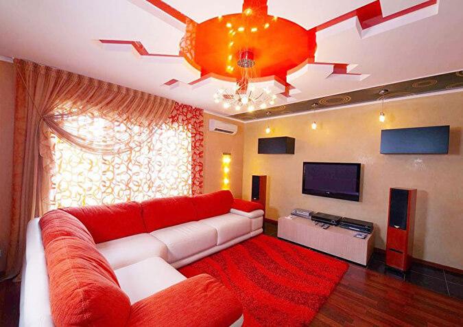 Натяжной потолок для зала - солнце