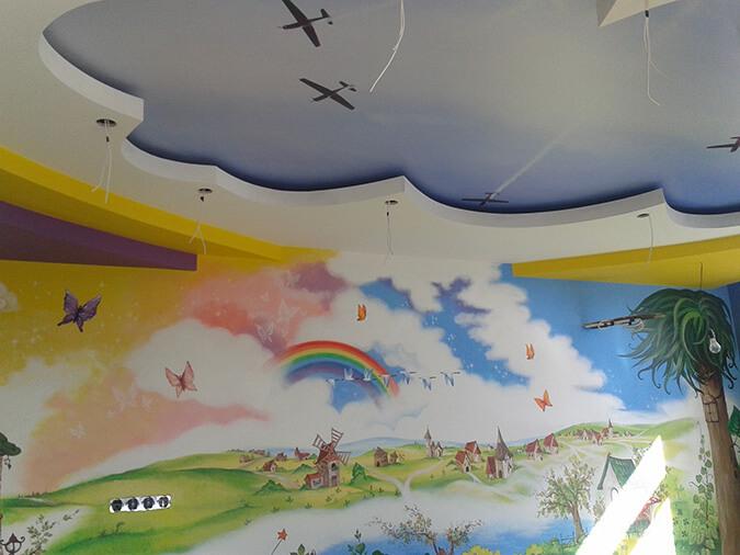 Двухуровневый потолок и фотостена
