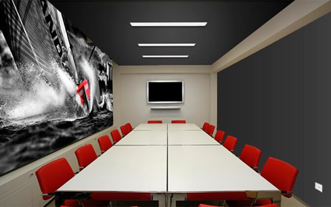 акустический натяжной потолок в офисе