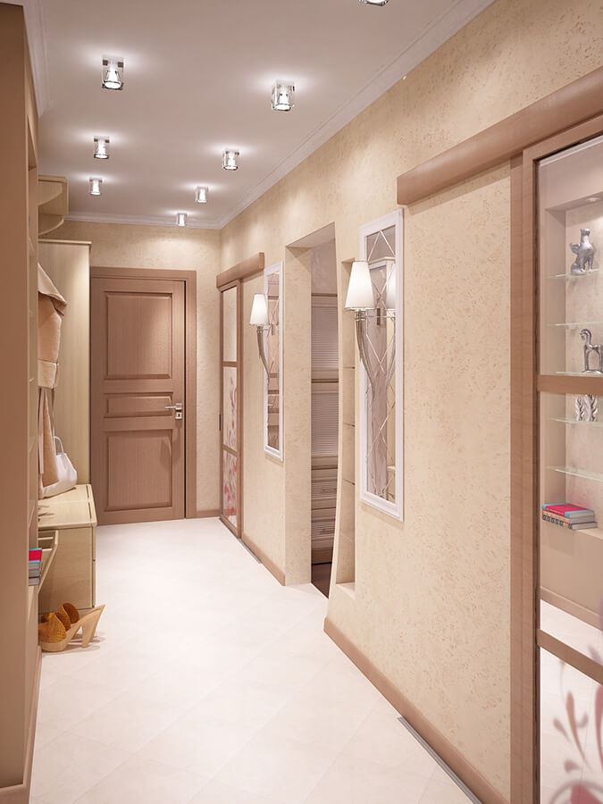 Белый тканевы натяжной потолок в коридоре реализация подсветки