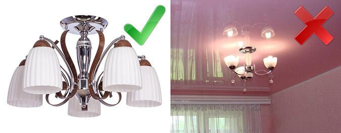 Правильная и не правильная люстры для натяжного потолка
