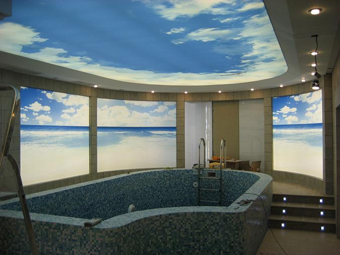 Натяжные потолки небо в бассейне