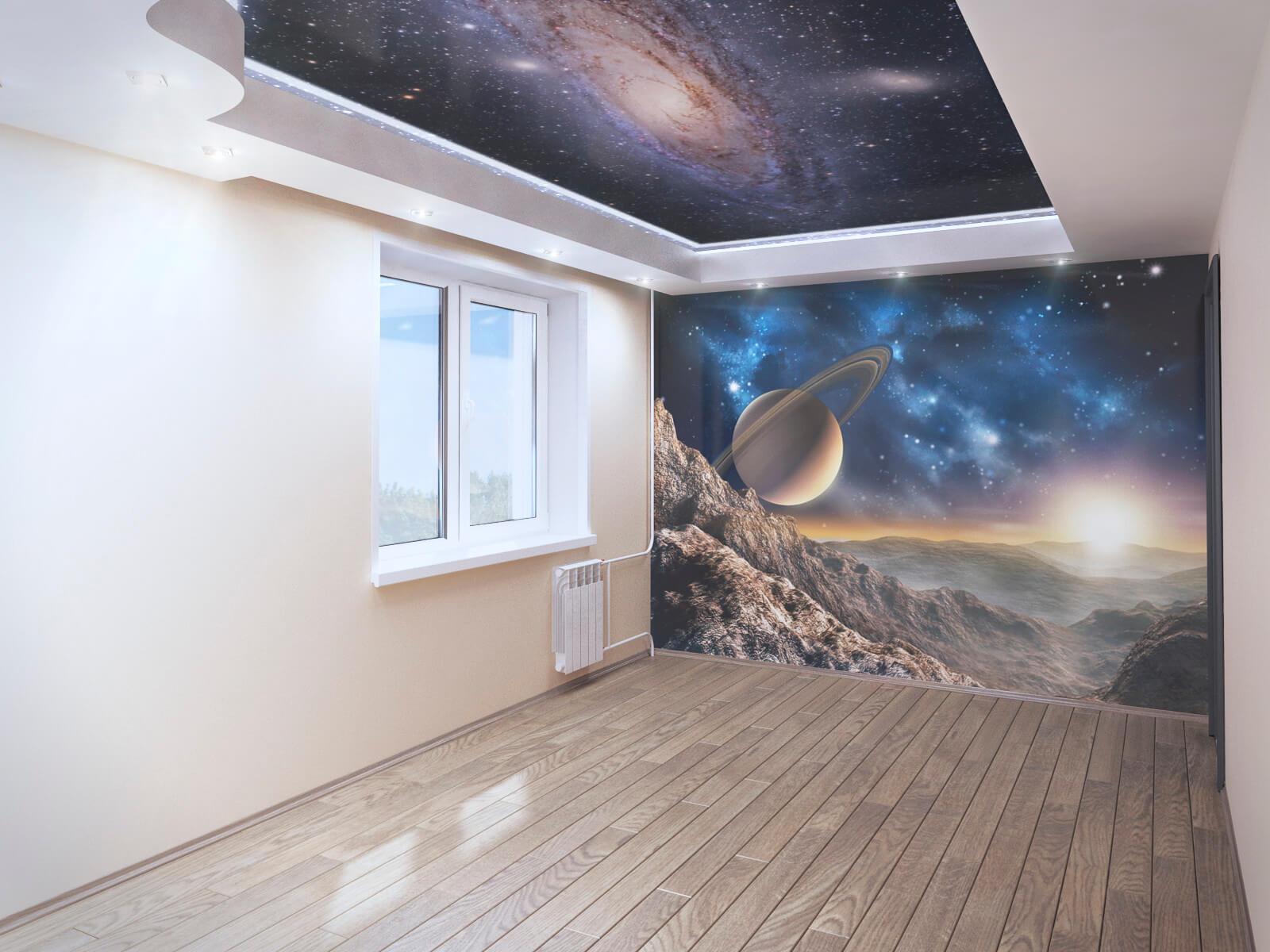 Натяжные стены в комнате