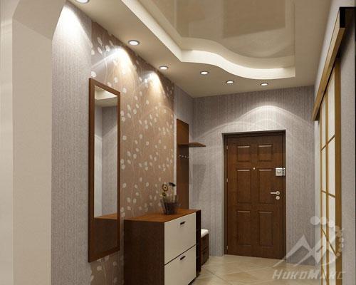 Двухуровневый натяжной потолок с подсветкой в прихожей