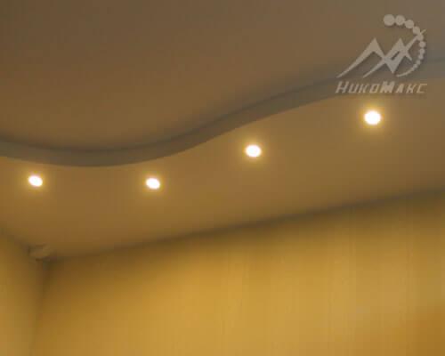 Фото двухуровневого натяжного потолка на кухне