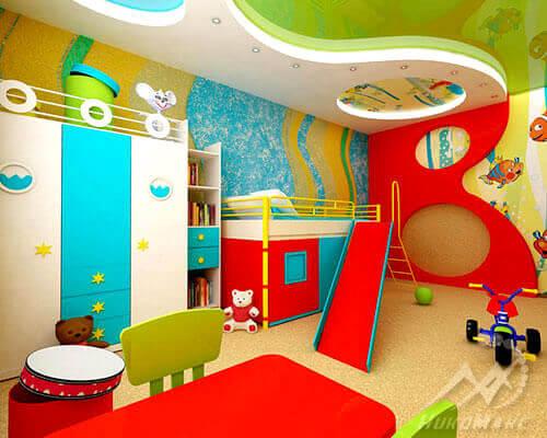 Фото варианта двухуровневого натяжного потолка в детской