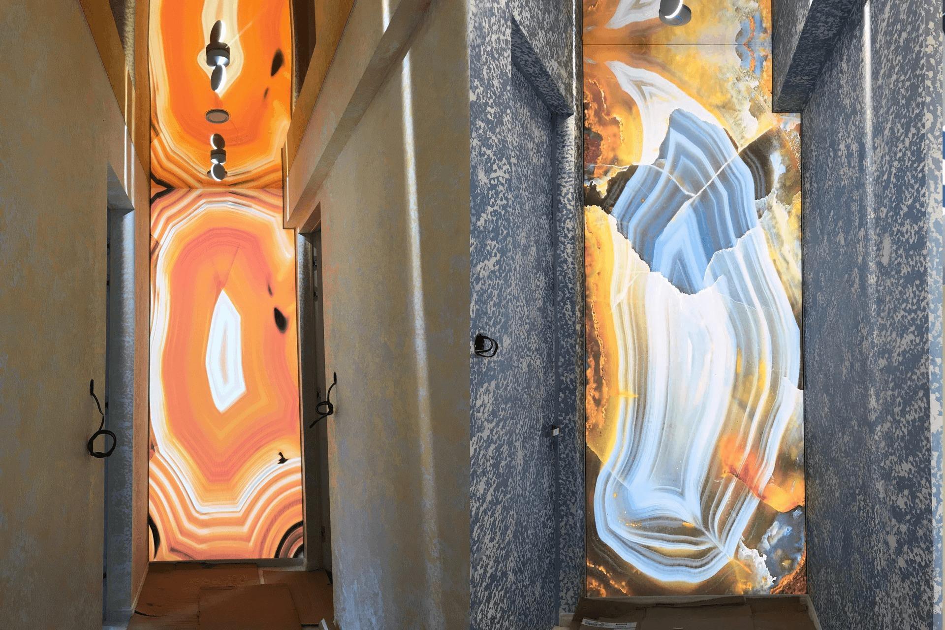 Фотопечать срез камня на стене и зеркальный потолок на потолке от НикоМакс