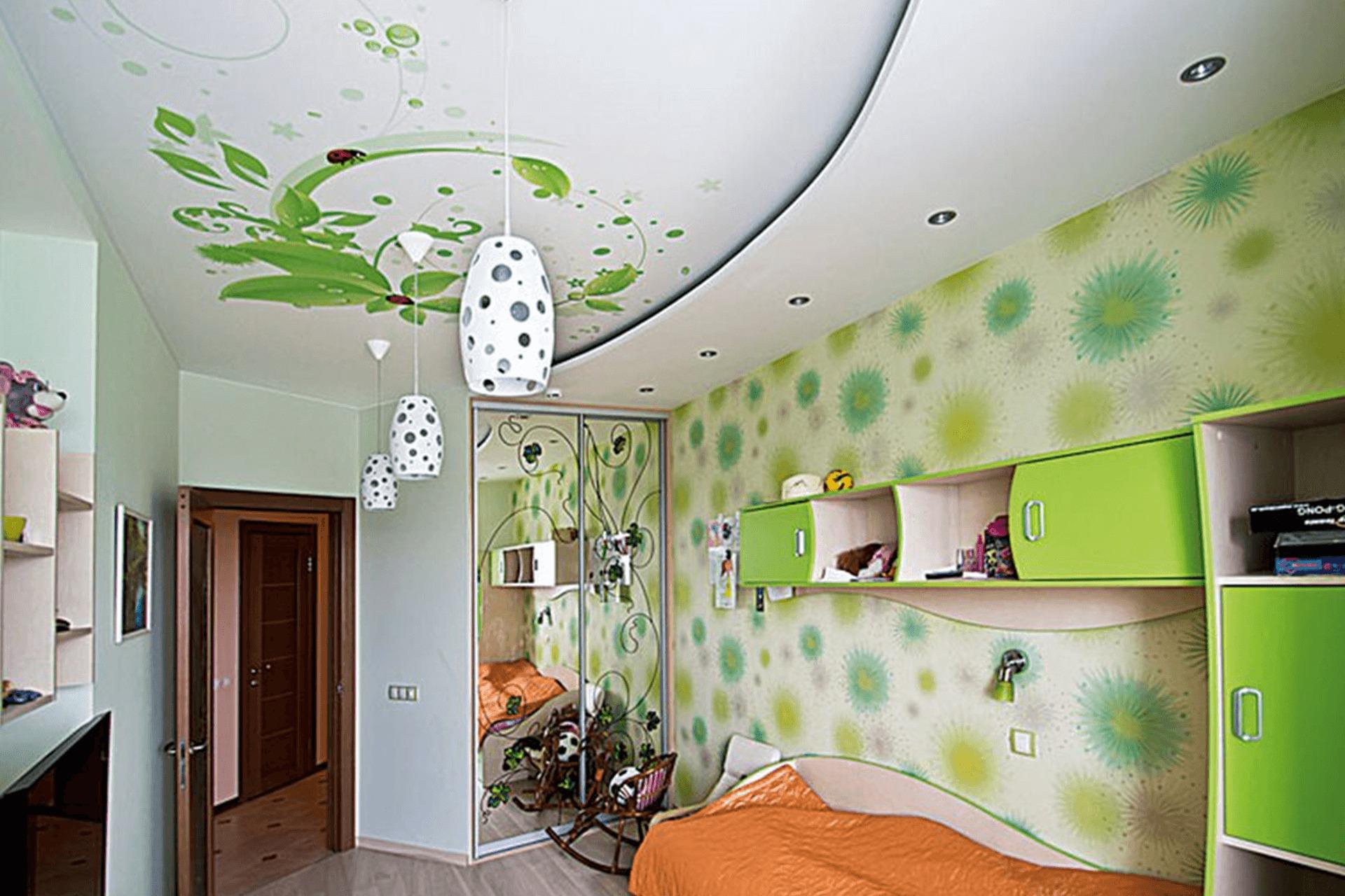 Матовый натяжной потолок с фотопечатью в детской
