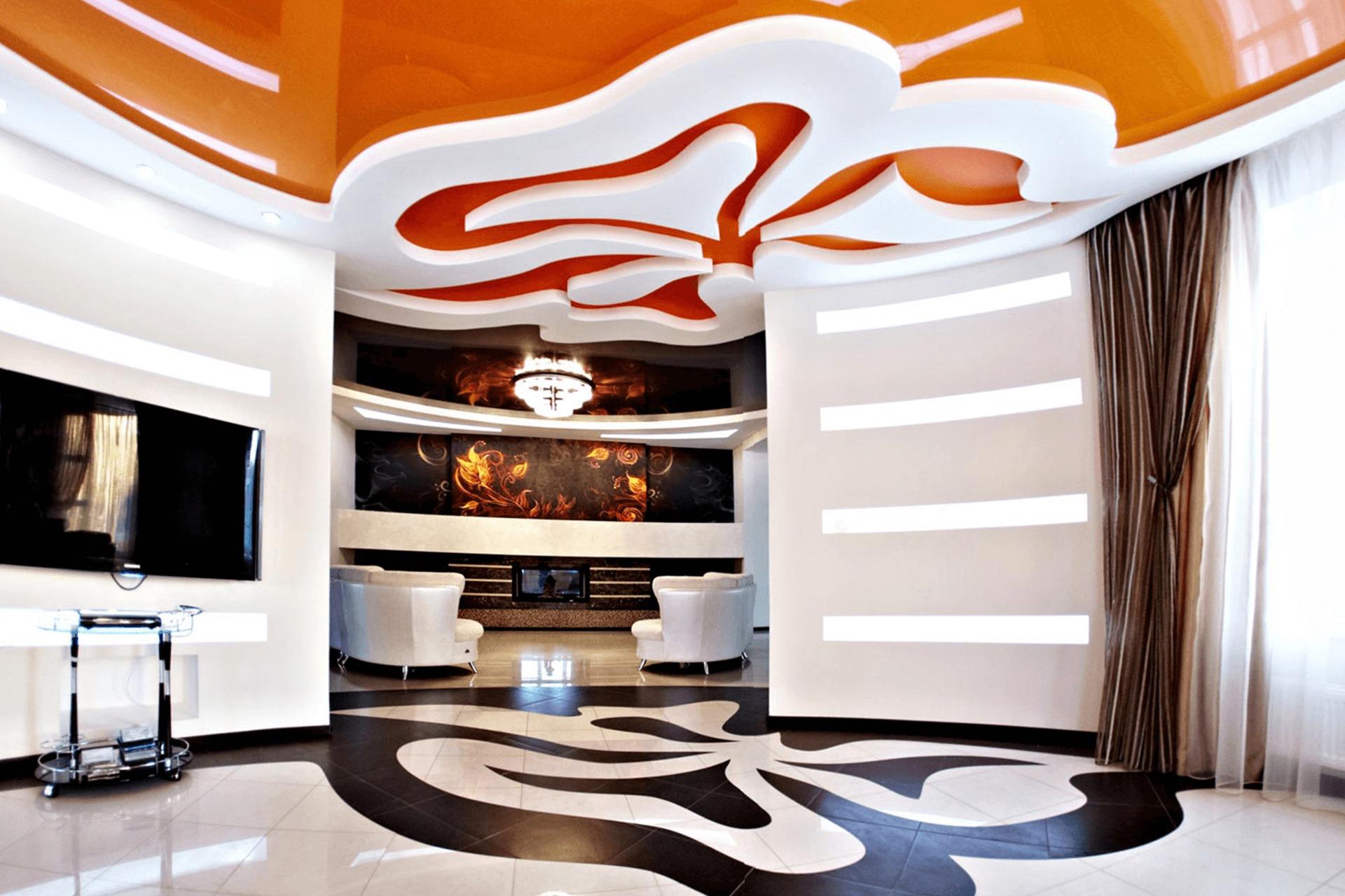 Многоуровневый натяжной потолок - оранжевый цветок