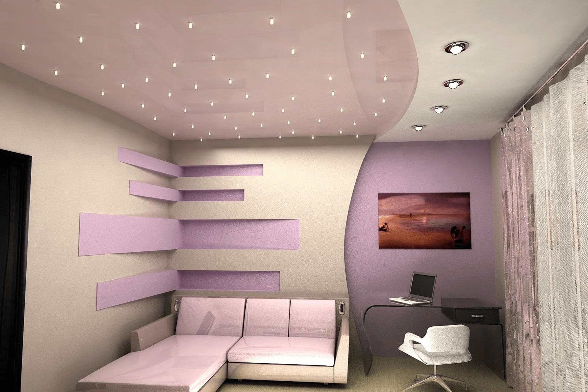 Многоуровневый натяжной потолок розовый