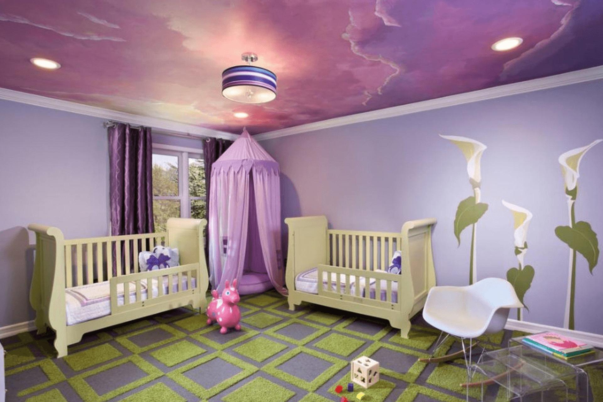 Тканевый натяжной потолок в детской с фотопечатью