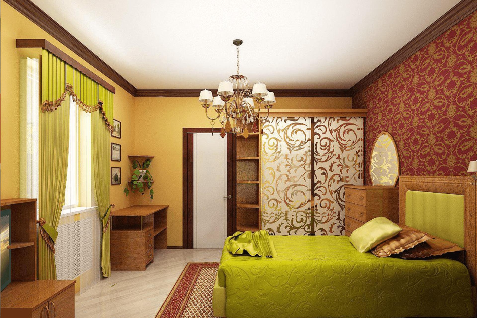 Тканевый натяжной потолок в спальне