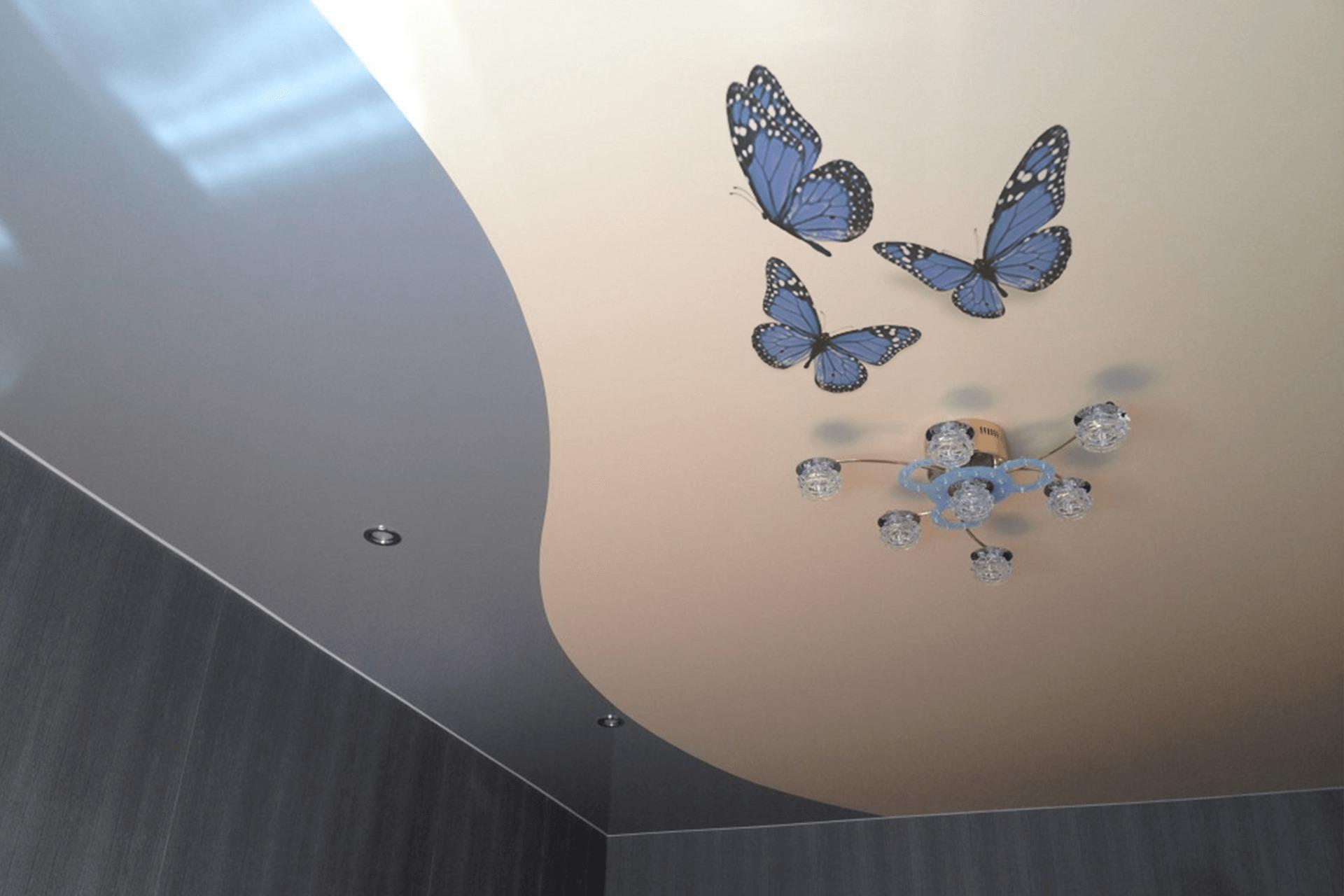 Спайка двух полотен, одно из которых с фотопечатью бабочки