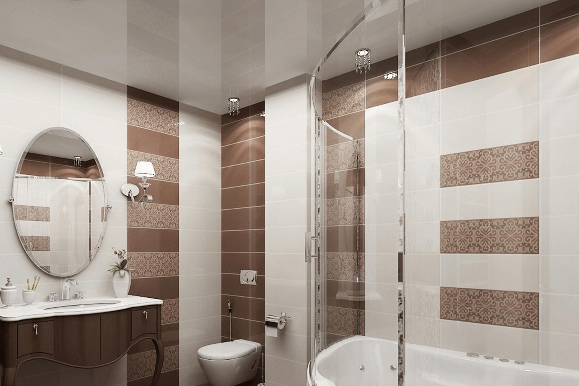 Белый парящий натяжной потолок в ванной