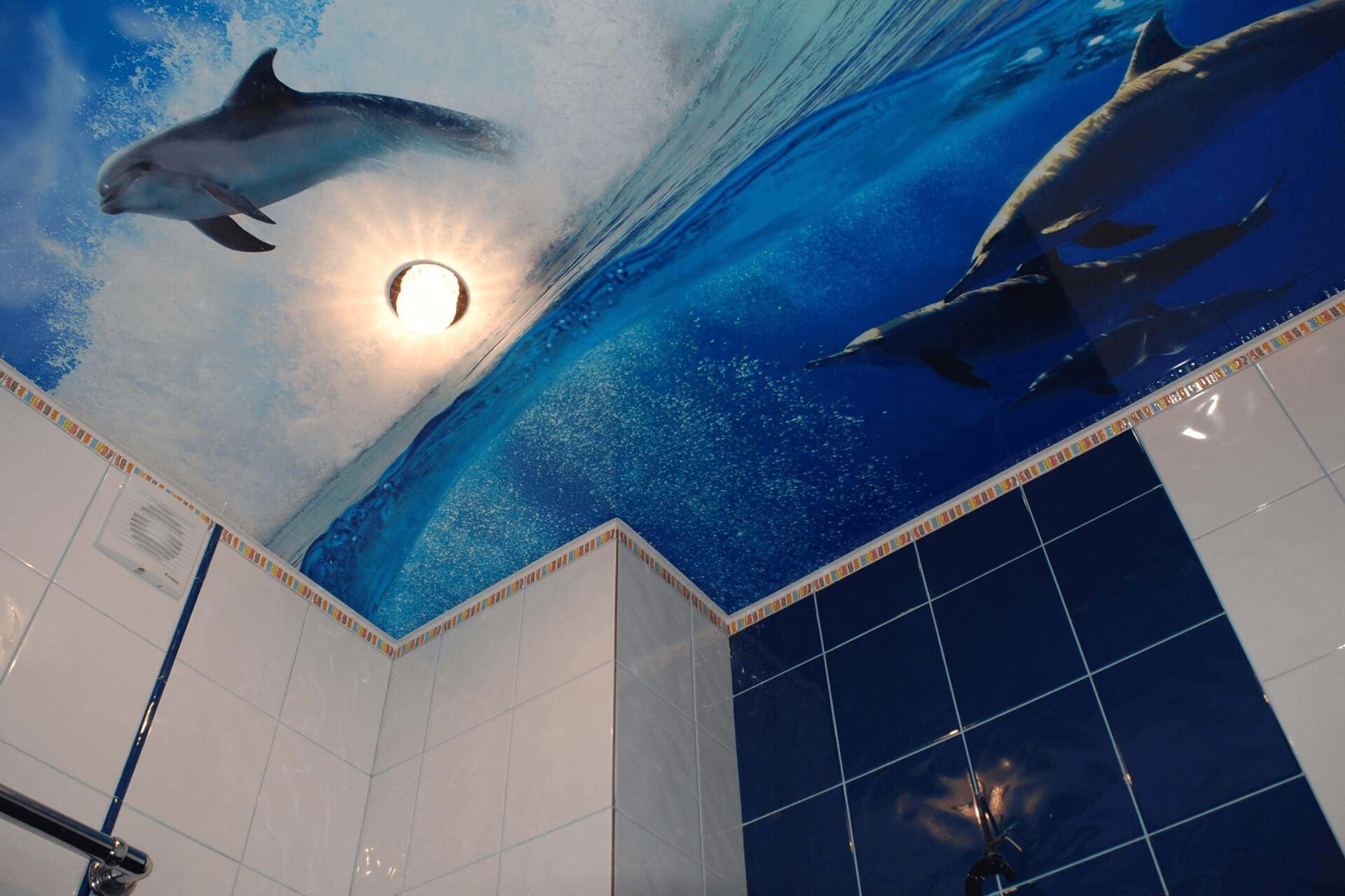 Фотопечать дельфины на натяжном потолке в ванной