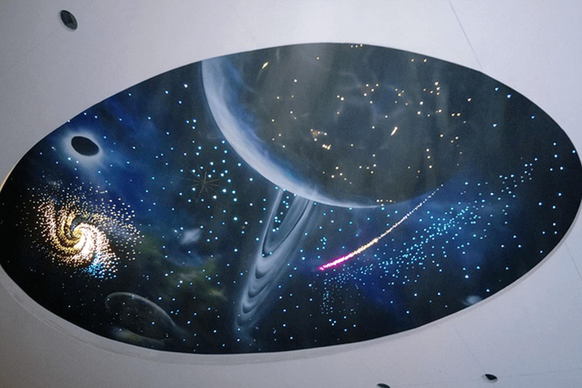 Натяжной потолок звёздное небо - двухуровневый