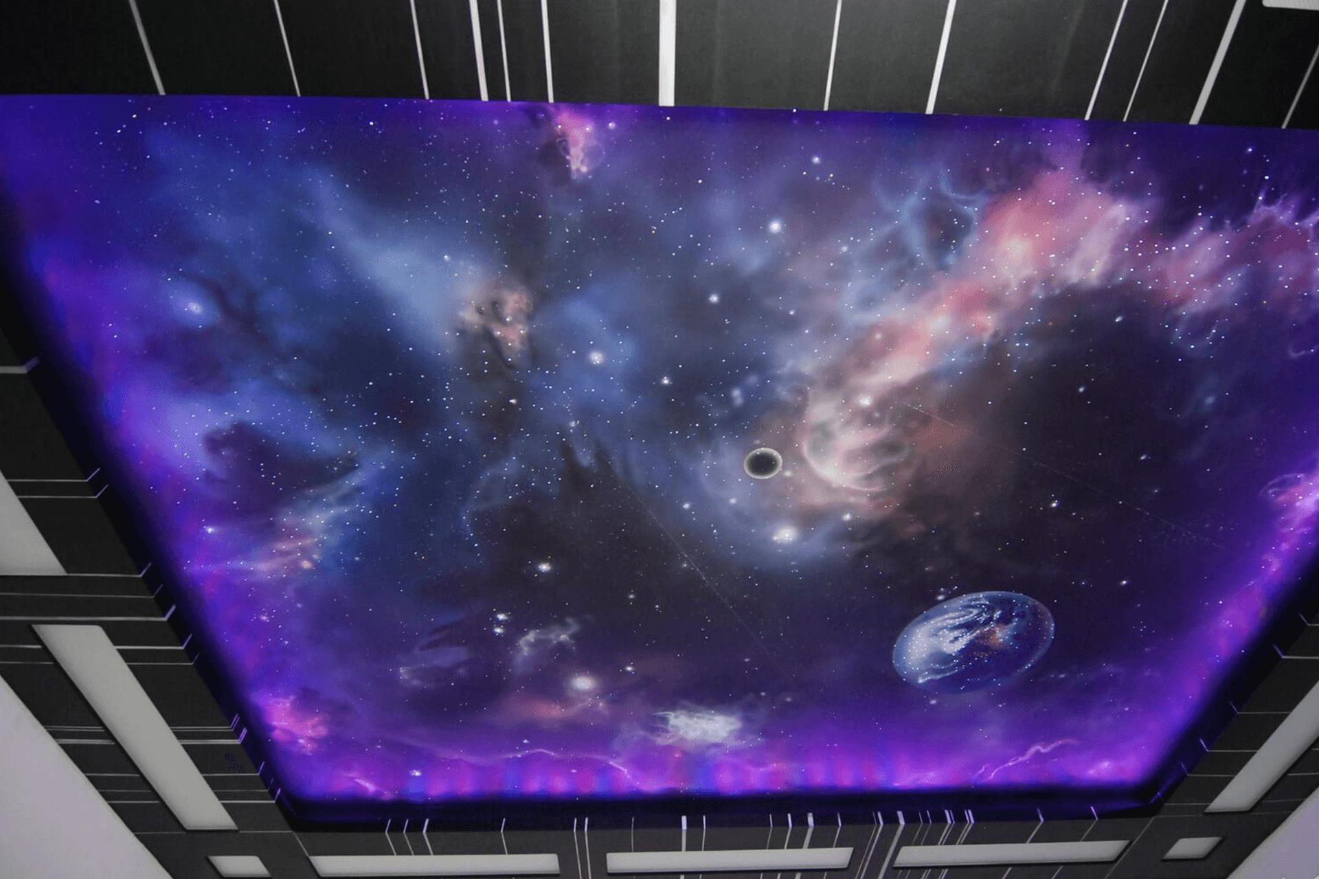 Натяжной потолок звёздное небо - фотопечать