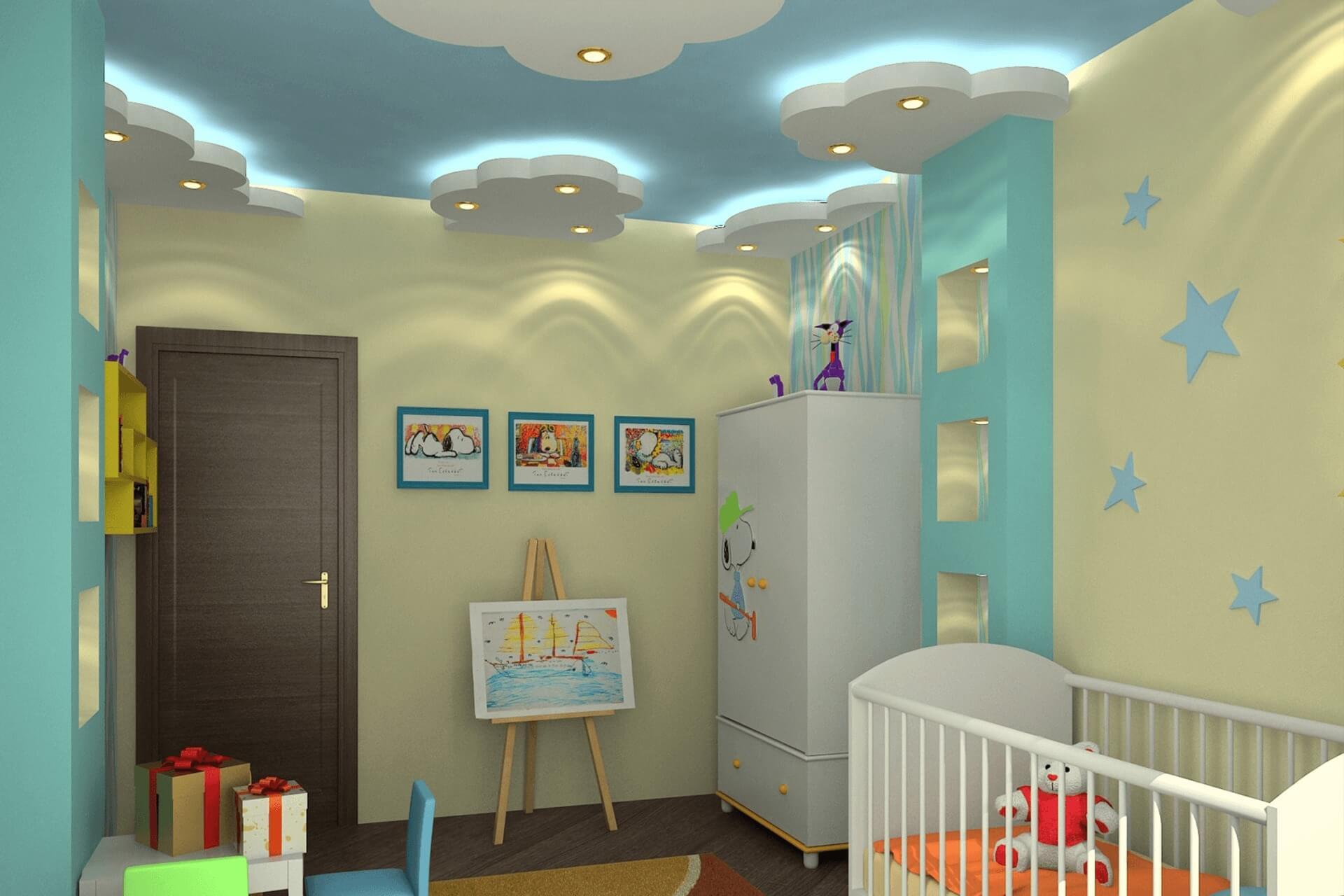 Натяжной потолок с облаками, многоуровневый. Для детской комнаты.