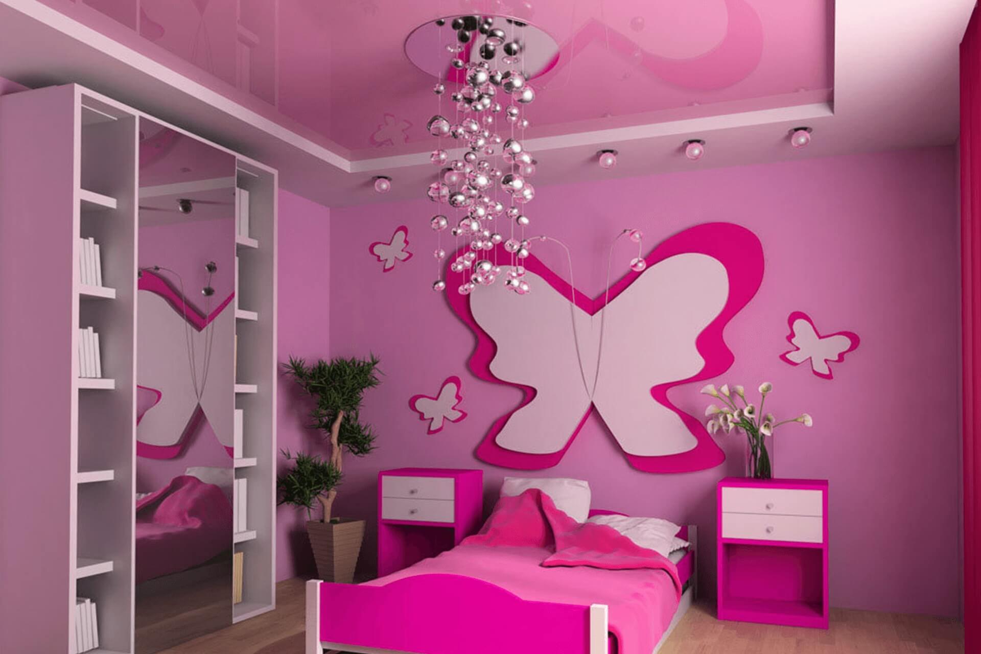Розовый натяжной потолок в детской. Комната для девочки.