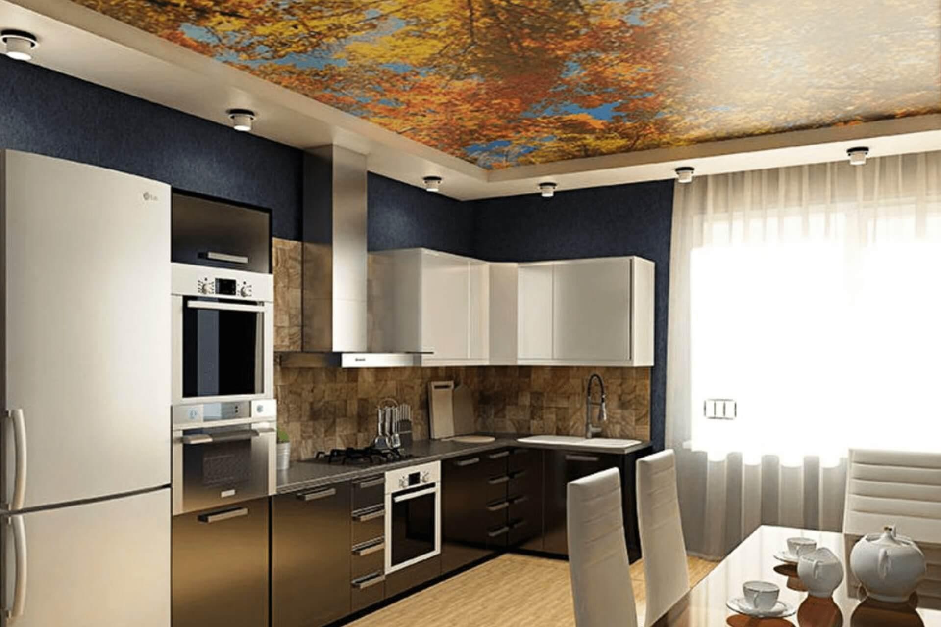 Натяжной потолк с фотопечатью осень на кухне