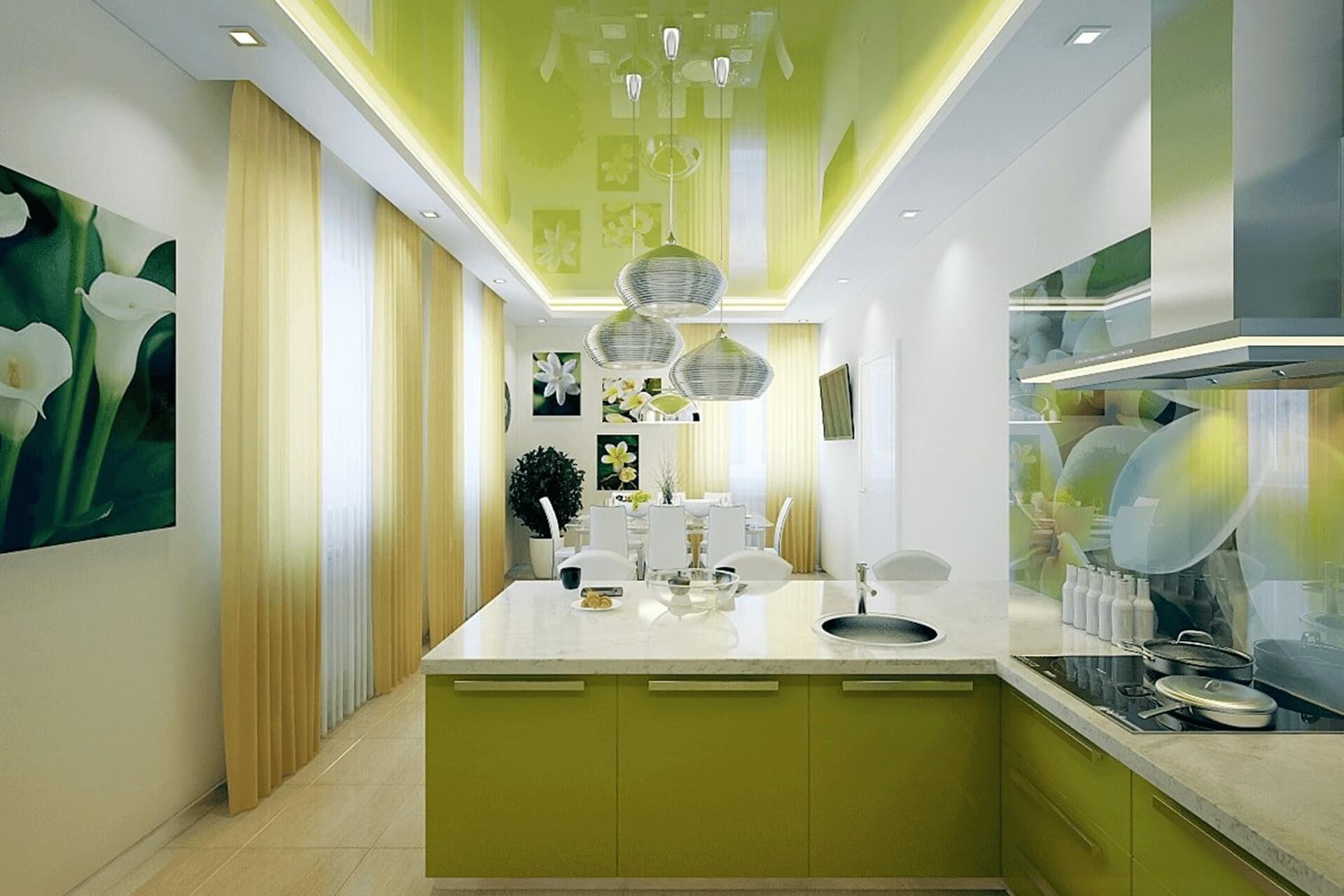 Салатовый натяжной потолок на кухне