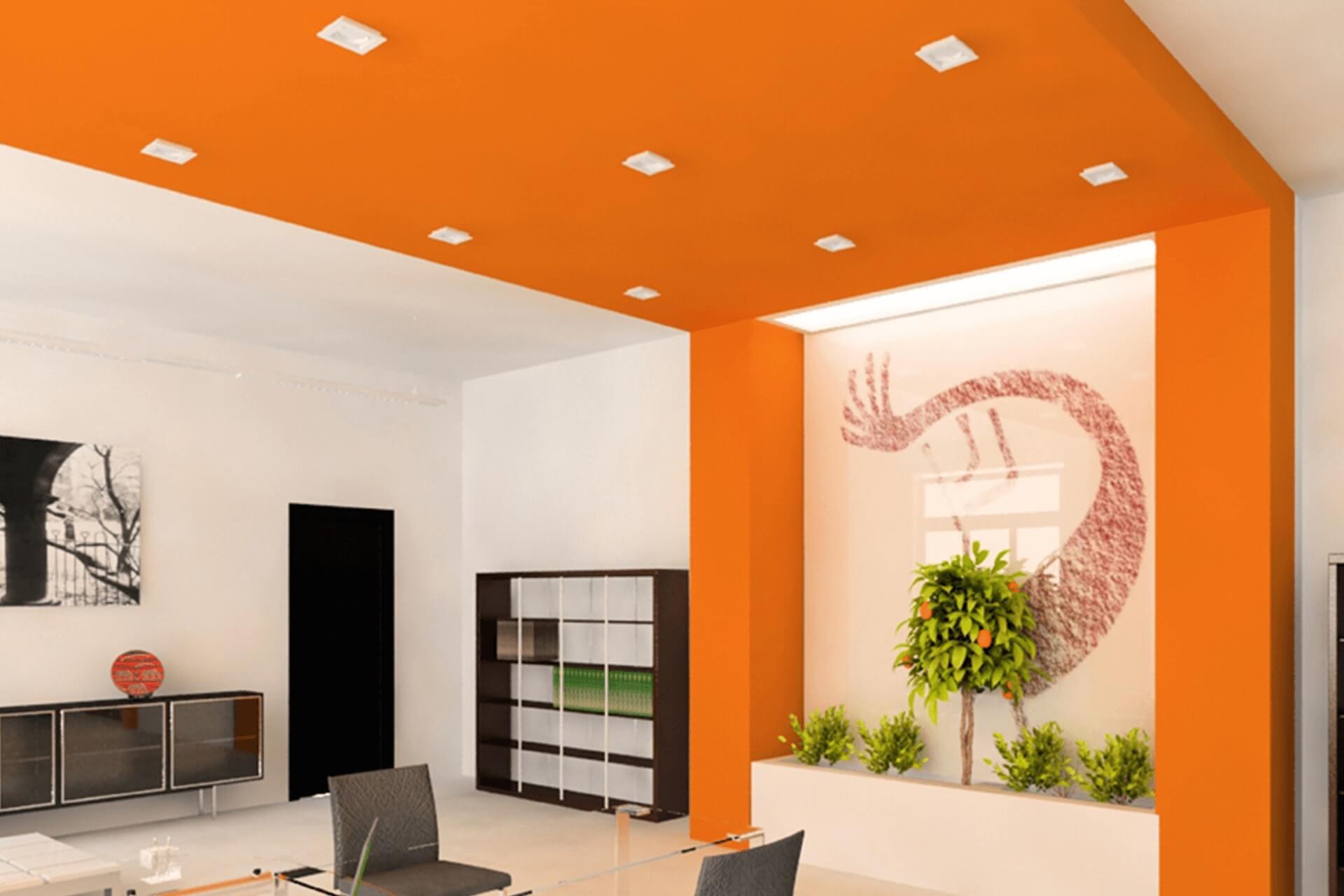 Оранжевый натяжной потолок в офисе