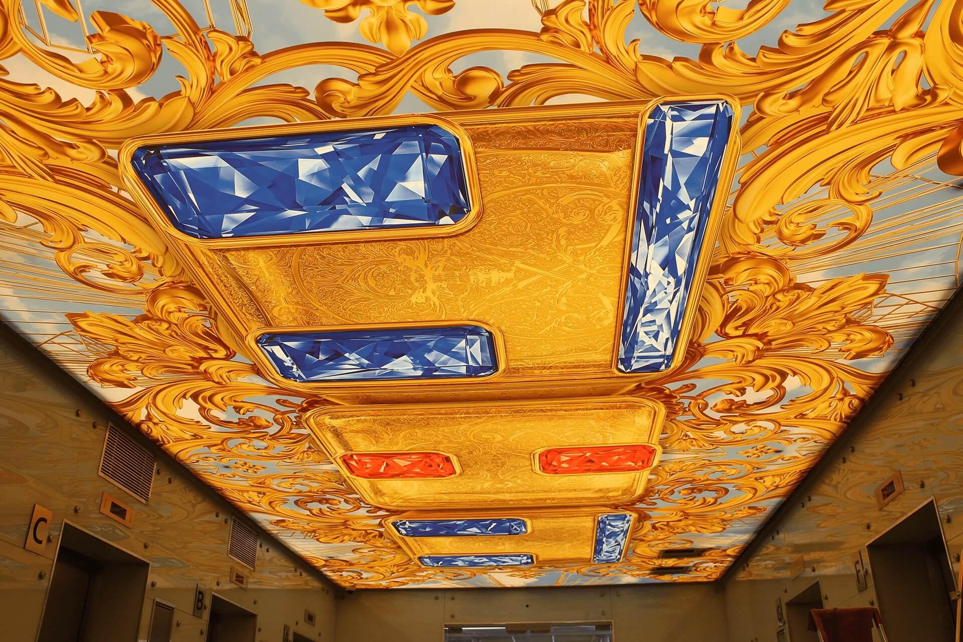 Натяжной потолок с фотопечатью в офисе ТНТ от НикоМакс
