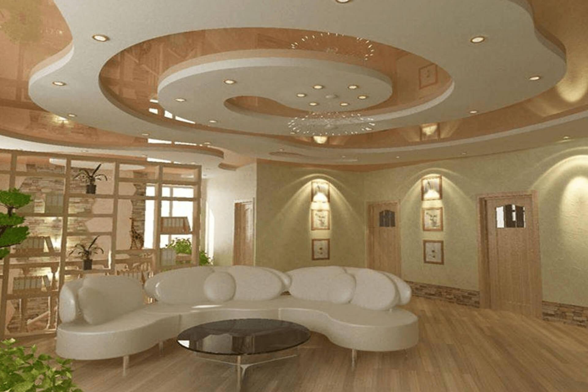 Бежевый двухуровневый потолок в зале