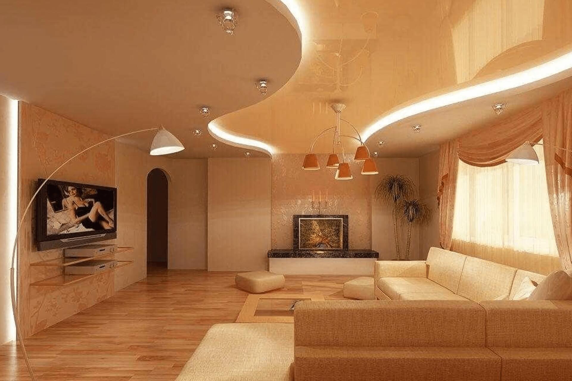 Бежевый двухуровневый потолок с подсветкой в зале