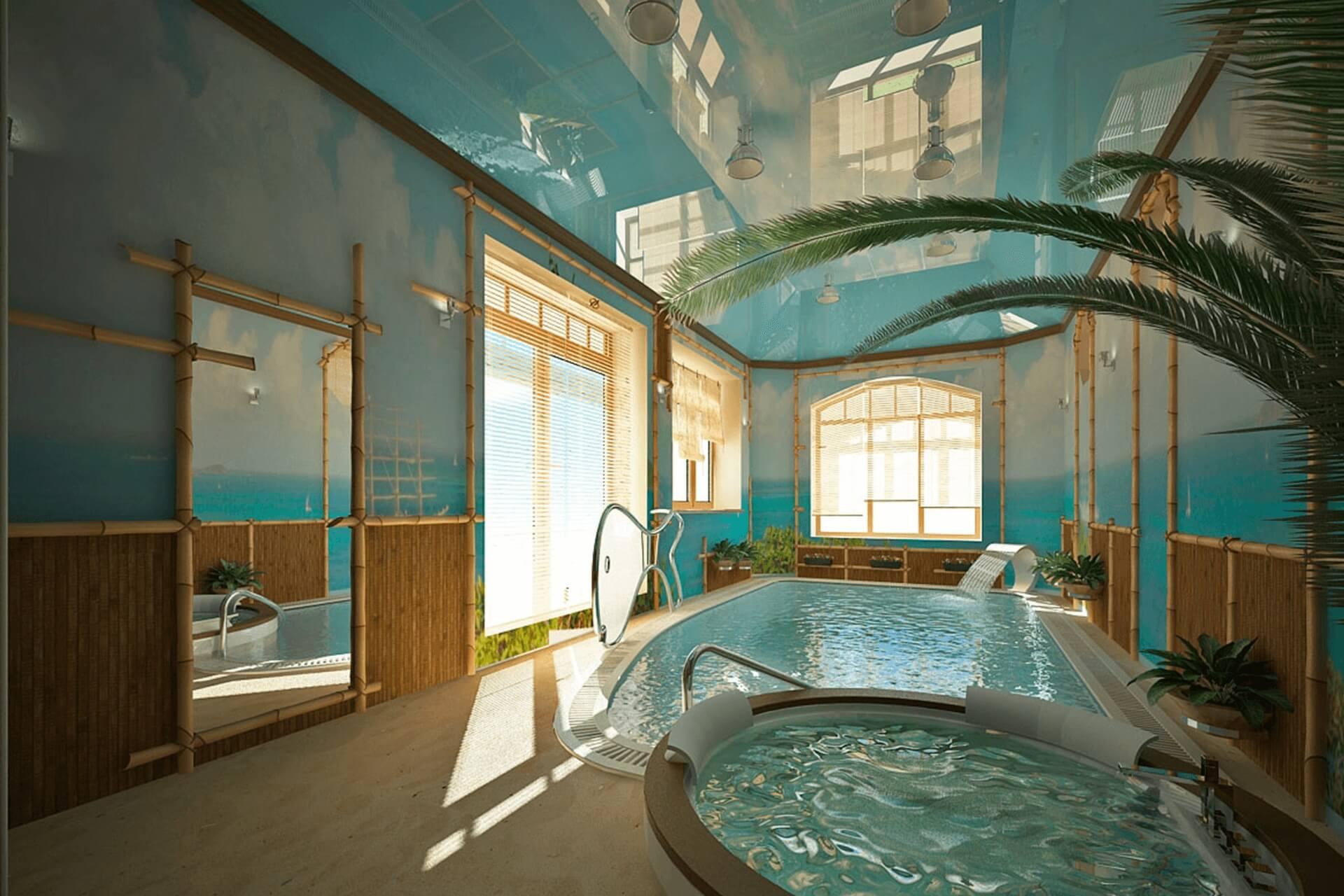 Голубой натяжной потолк