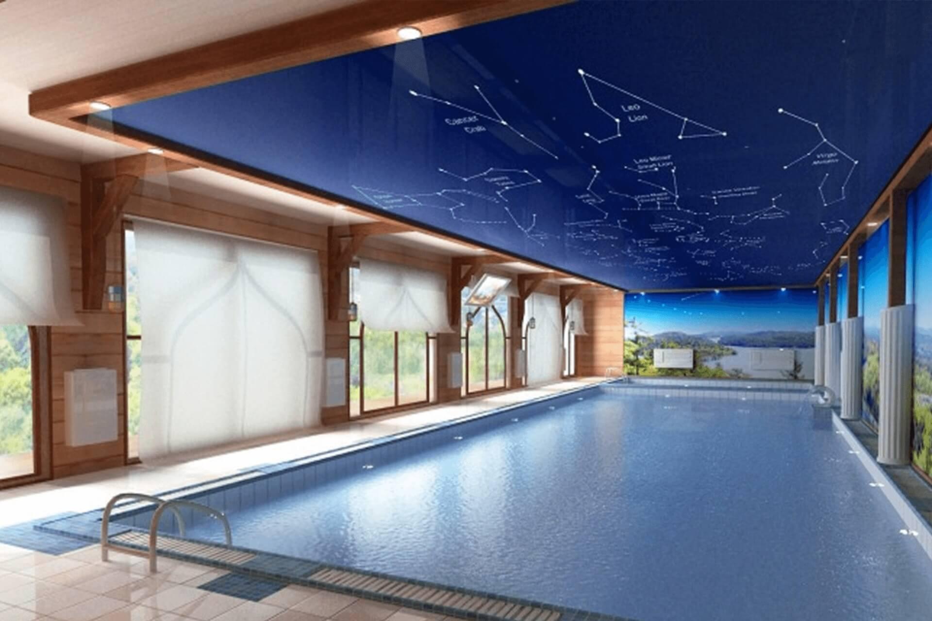 Натяжной потолок в бассейне - созвездие