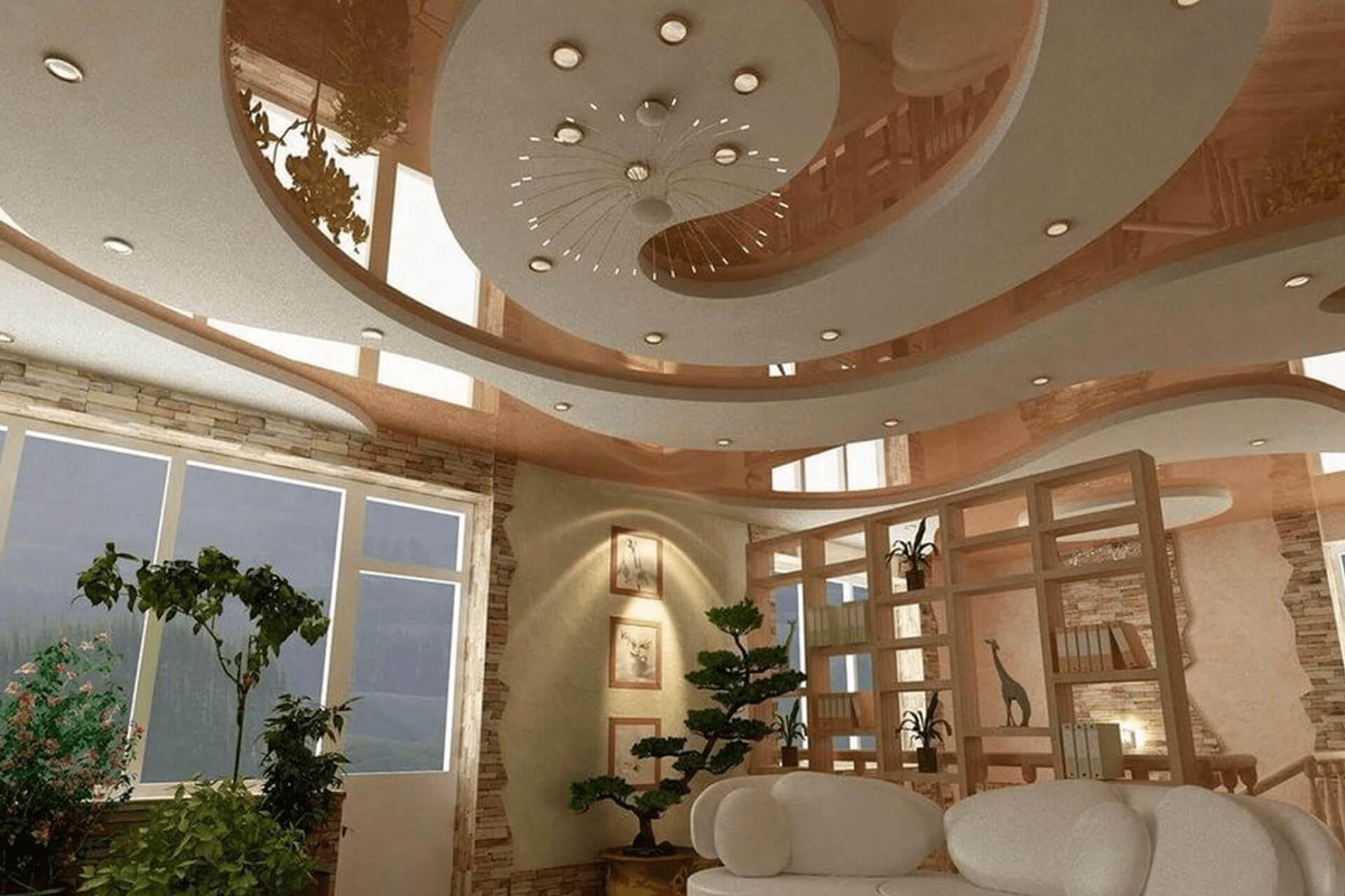 Розовый глянцевый натяжной потолок в доме - многоуровневый