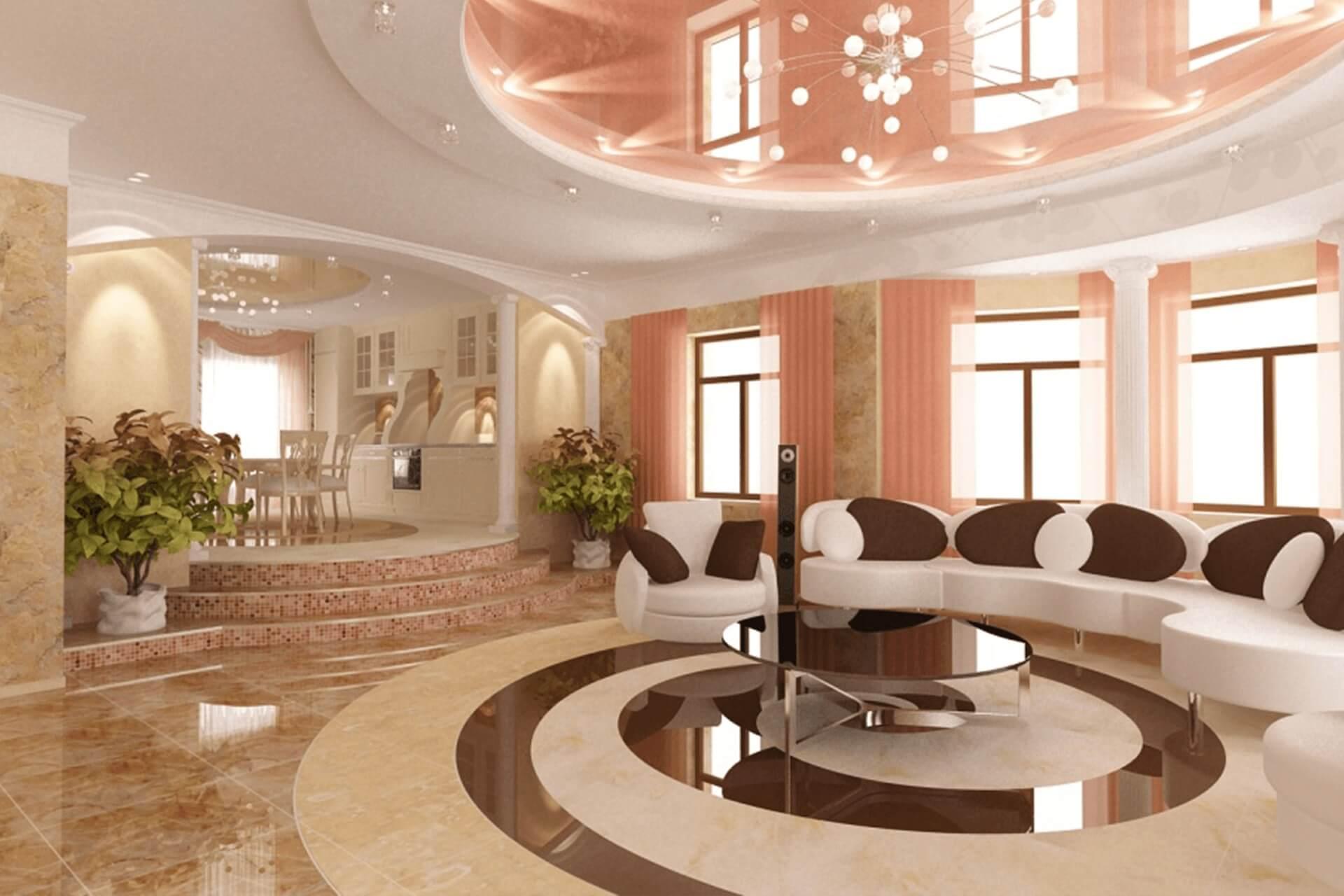 Розовый натяжной потолок в доме