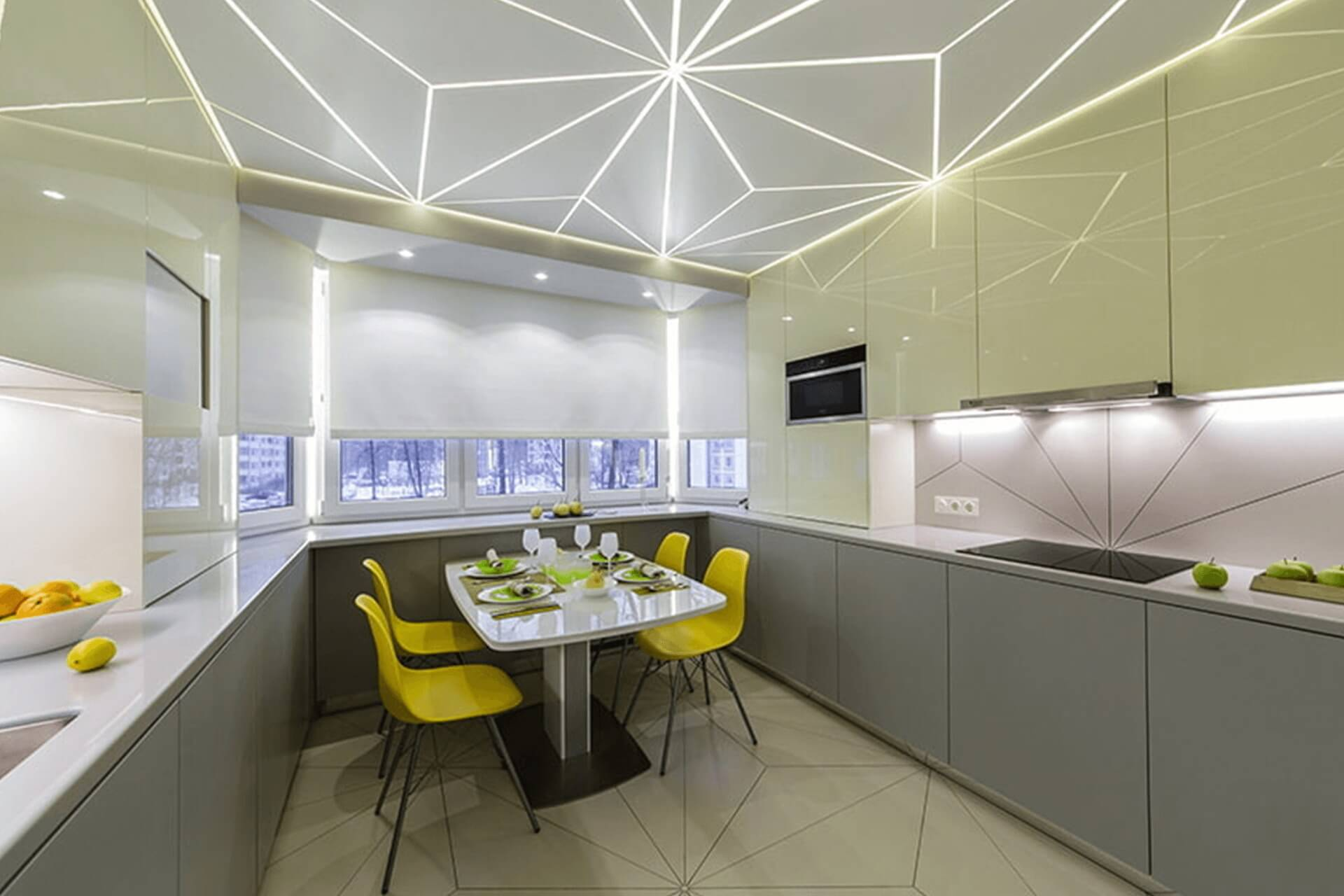 Световые линии на кухне