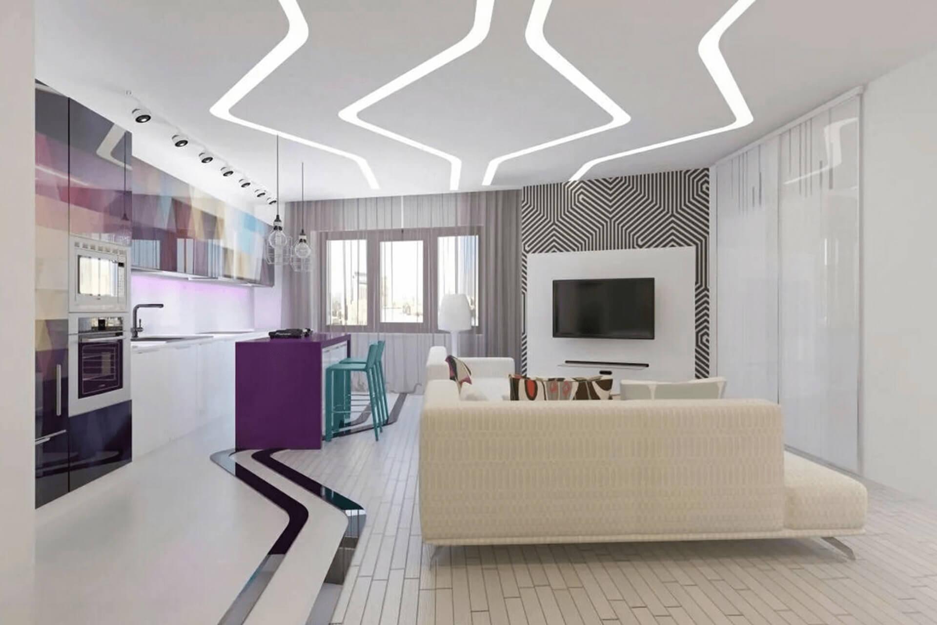 Криволинейные световые линии на потолке в гостиной