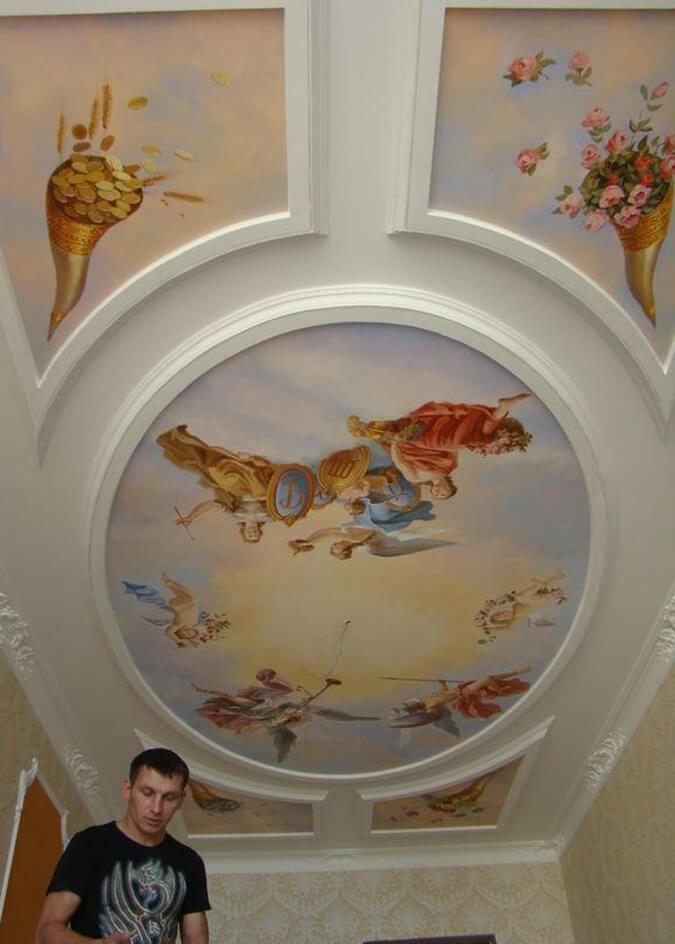 Роспись натяжного потолка в комнате