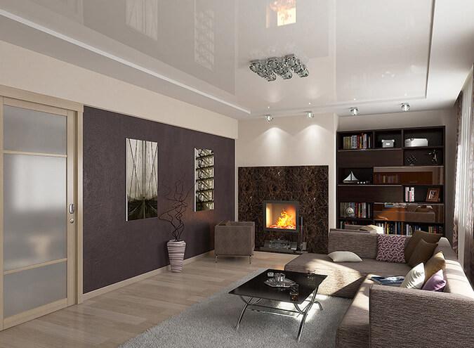 Классический натяжной потолок в гостиной