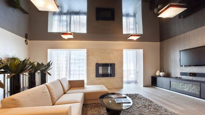 Чёрный натяжной потолок в стиле минимализм
