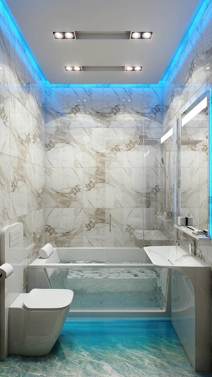 Голубая подсветка с натяжном потолком в ванной
